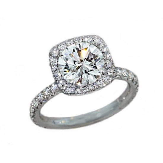 Handmade French pave cushion halo platinum engagement ring