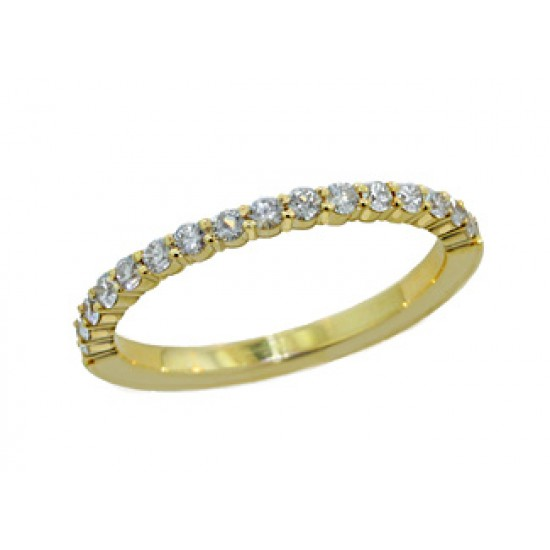 Shared prong diamond band .32ctw 14k yg