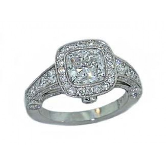 Bead and bezel set diamond milgrainined cushion ring