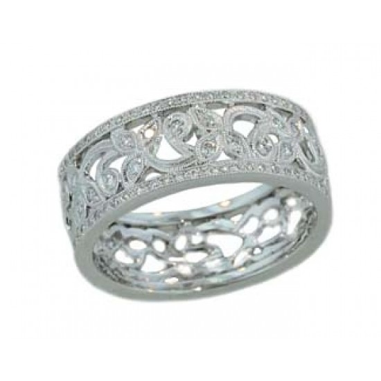 Pave' diamond open floral design milgrained band
