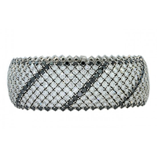 47ctw black and white diamond cuff bracelet