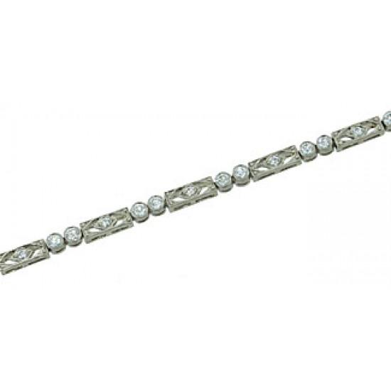 Vintage style pierced link diamond bezel bracelet
