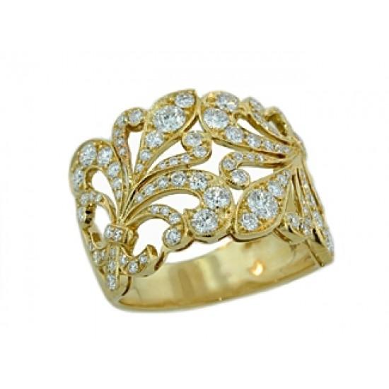 15mm wide Fleur de Lys pave diamond band
