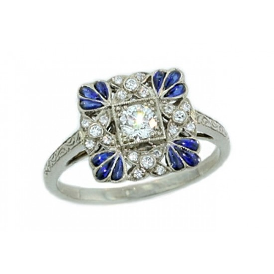 Pierced square top pave' diamond and sapphire ring