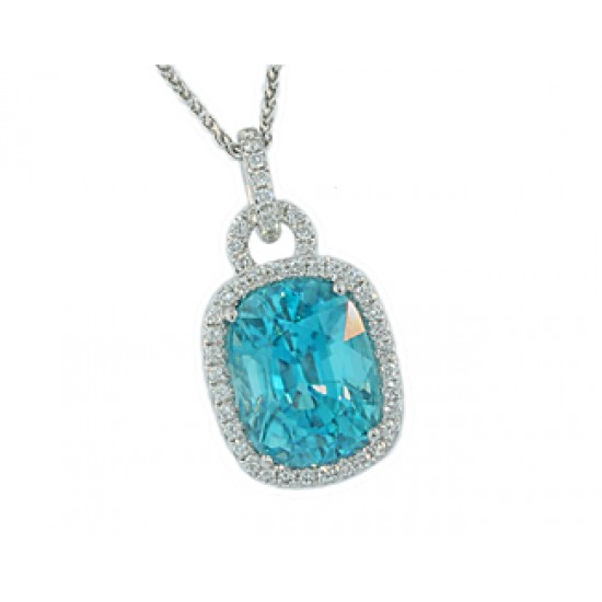 9.62ct cushion blue Zircon pave' halo pendant
