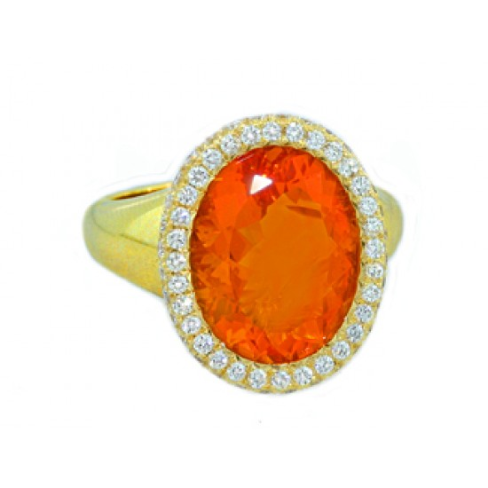 5.37ct fire opal and diamond ring 18k yellow gold