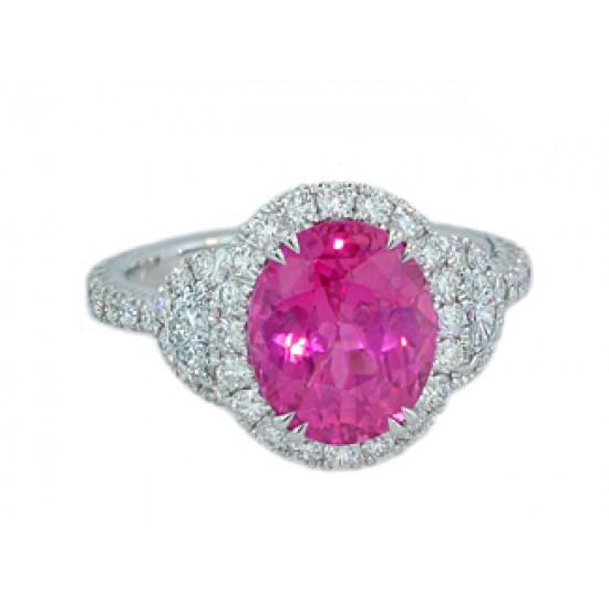 4.4ct pink sapphire 1/2moon pave' halo diamond rin