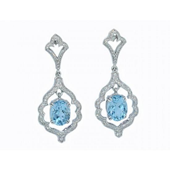 Custom design aquamarine pave' diamond earrings