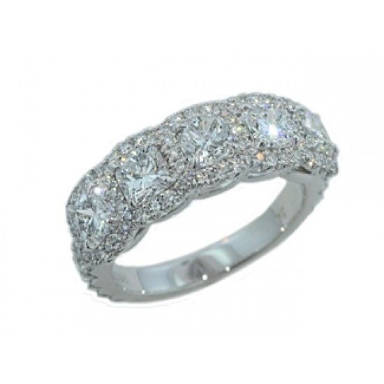 Custom made Five stone cushion diamond pave' halo band