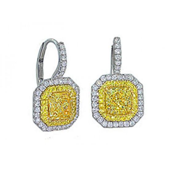 1.51ctw FIY Radiant diamond pave' halo earrings