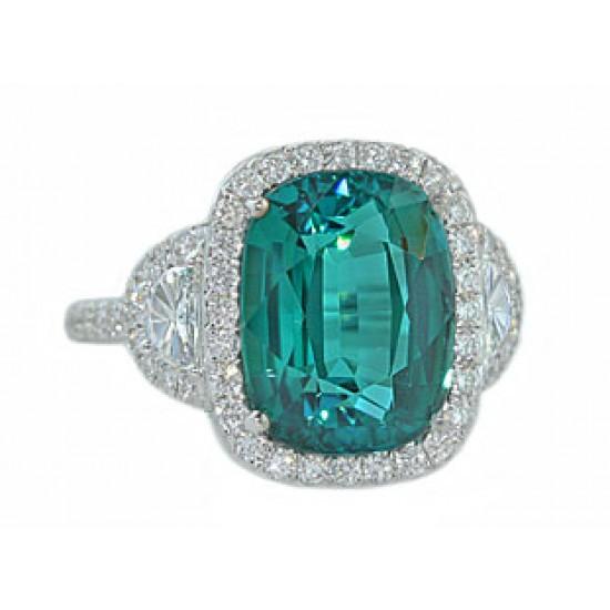 Custom made 5.7ct tourmaline 1/2moon diamond pave' ring