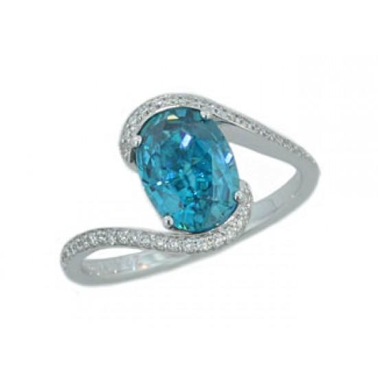 2.61ct blue Zircon bypass pave' diamond ring