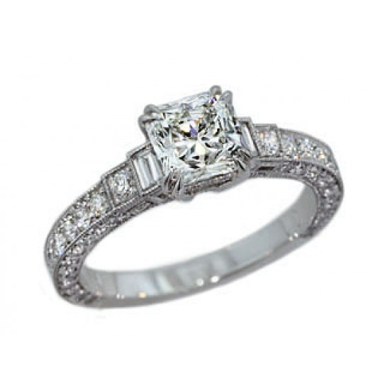 Custom made 1.04ct Lucere diamond custom 3-sided pave ring