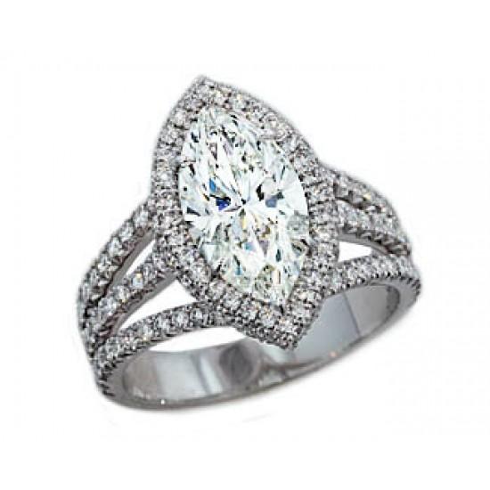2.27ct Marquise Diamond pave' halo 3-split shank