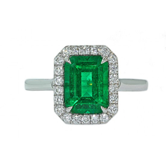 Custom made 2 carat emerald cut Emerald pave halo ring