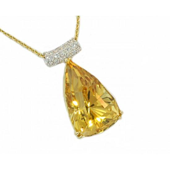 12.55ct Golden beryl pave' diaond bail pendant