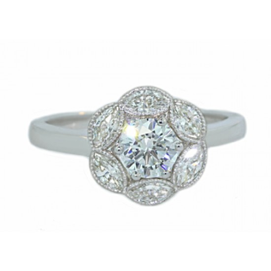 Custom made ring with round diamond center and marquise halo