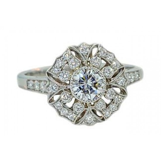Antique style snowflake design pave' diamond ring