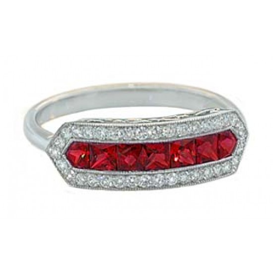 Princess ruby pave' diamond vintage style band