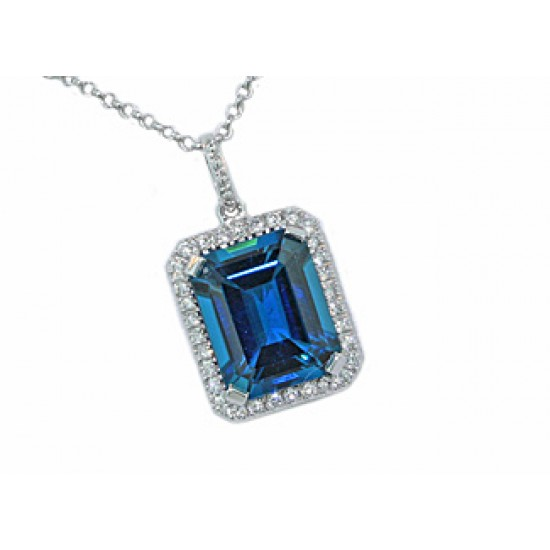 2.7ct emerald cut London blue topaz pave' halo pen