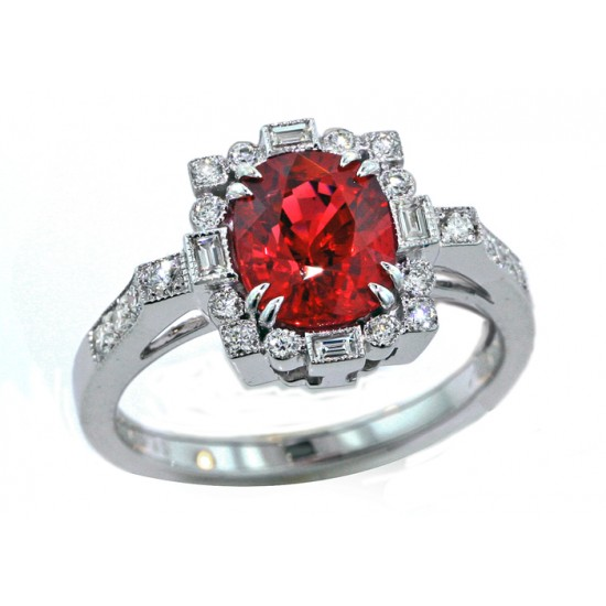 1.8ct cushion Spinel and diamond deco ring
