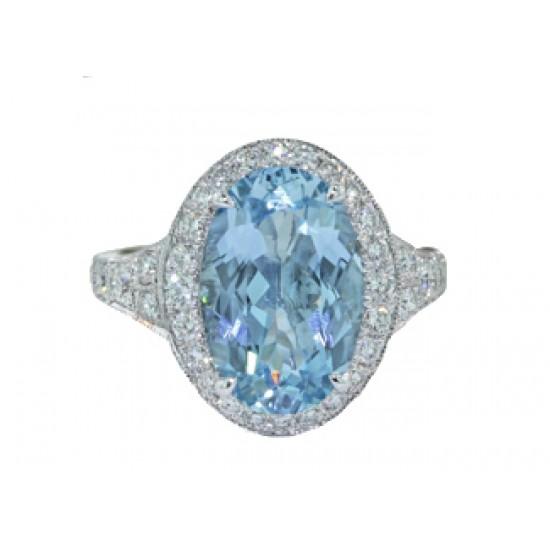 Aquamarine and diamond pave ring