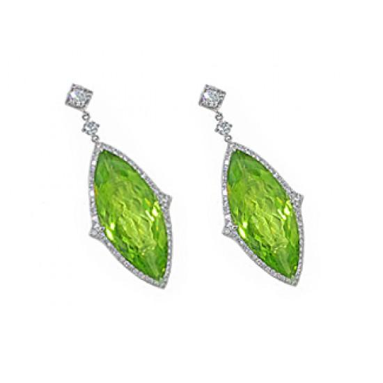 12.5ctw marquise peridot pave' diamond earrings