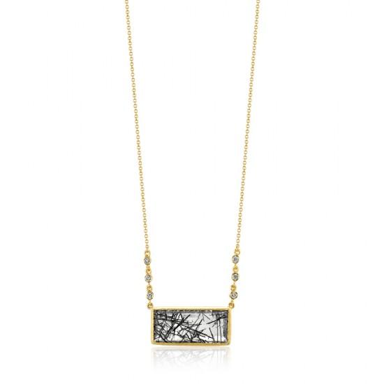 Rutilated Quartz and Diamond Pendant