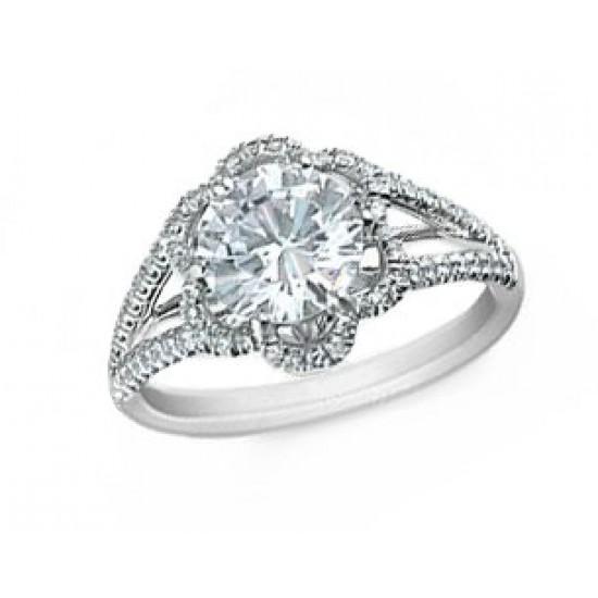 Scalloped pave' diamond halo split shank ring