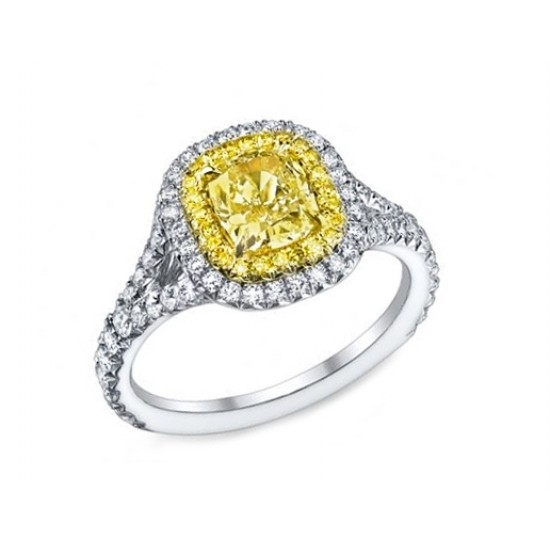 1.17ct Fancy Yellow diamond pave' split ring