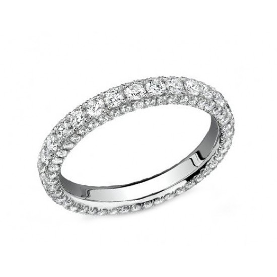 Three sided pave' eternity band