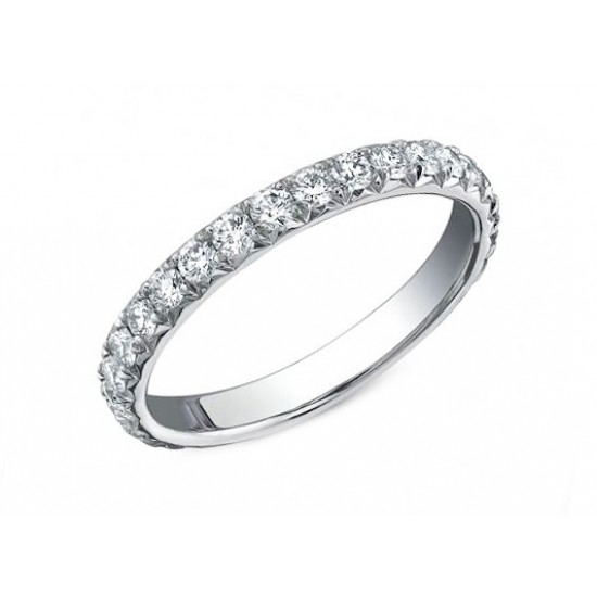 Handmade french pave' diamond eternity band