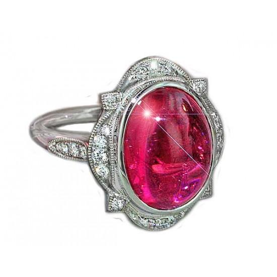 8ct cabochon pink tourmaline diamond ring