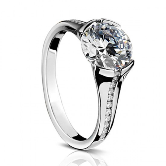 Sholdt 1/2 bezel channel set diamond tapering ring