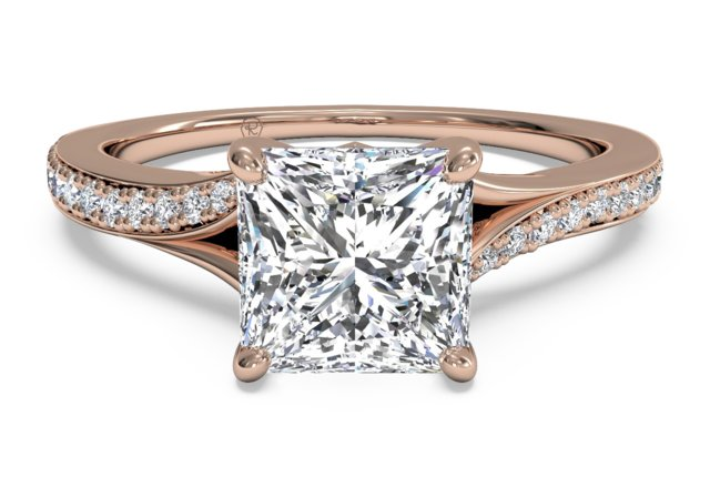 this ritani design rose gold engagement ring features a princess cut diamond center and a slight bypass style band giving the engagement ring a gentle curve - Wedding Rings Rose Gold