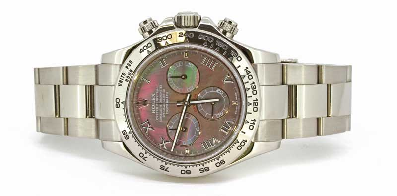 Rolex Daytona in 18k white gold with black mother of pearl dial