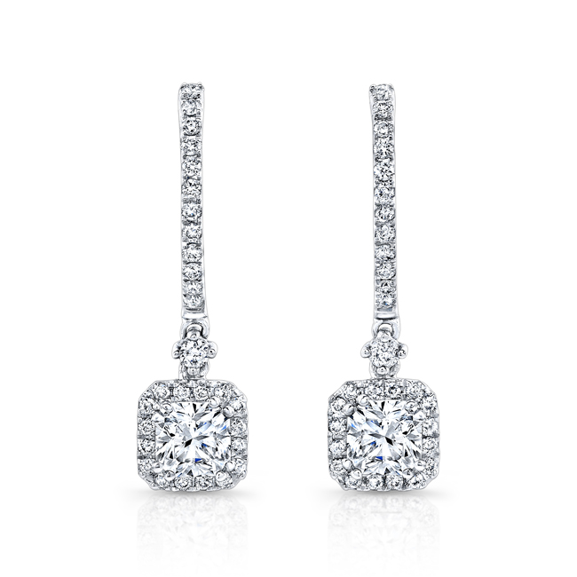 Ideal Square Diamond earrings with halos