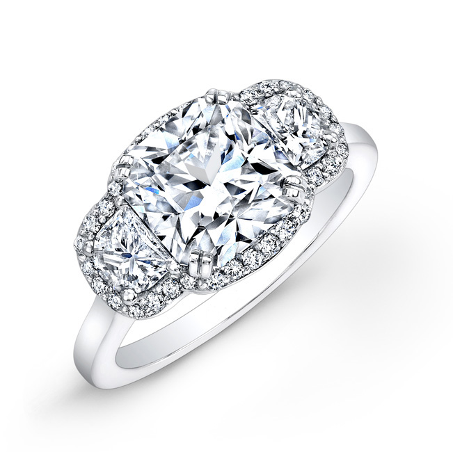 Ideal Square Diamond engagement ring with halos